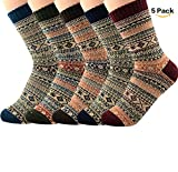American Trends Womens Winter Wool Thick Knit Casual Super Soft Vertical Stripes Christmas Vivid High Socks