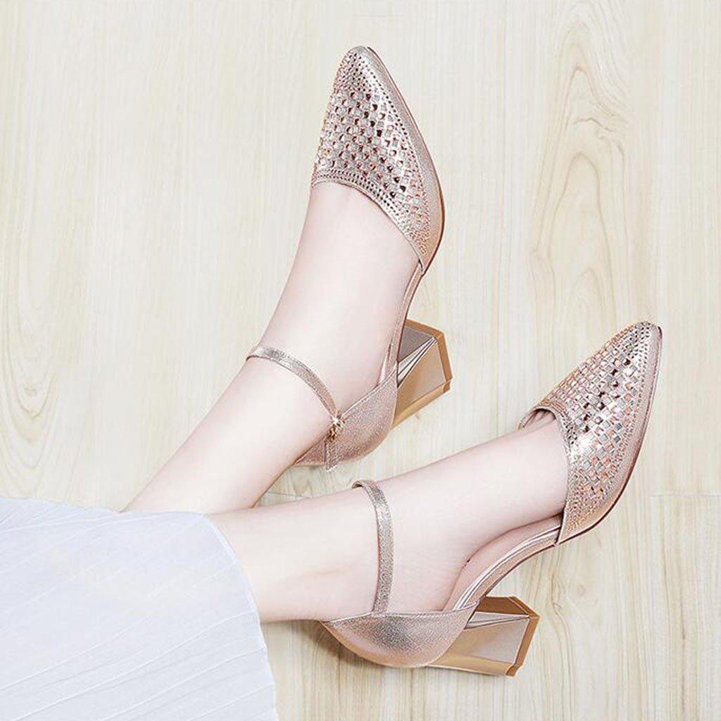 MUMA Pumps Pumps MUMA Baotou Sandalen Damenschuhe Sommer 2018 Neue Schuhe Joker Hohl Sexy Medium mit Dick mit Wort Schnalle High Heels Schwarz Gold (Farbe : Gold, Größe : EU36/UK4/CN36) Gold 576e24