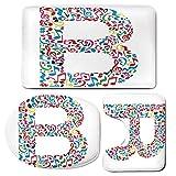 3 Piece Bath Mat Rug Set,Letter-B,Bathroom Non-Slip Floor Mat,Colorful-Silhouette-of-B-with-Do-Re-Mi-Symbols-Art-School-Alphabet-Design-Words,Pedestal Rug + Lid Toilet Cover + Bath Mat,Multicolor