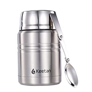 Keetan Vacuum Insulated Food Jar 18/8 Stainless Steel Lunch Box with Folding Spoon Double Walled Food Container BPA Free(17OZ, Stainless)