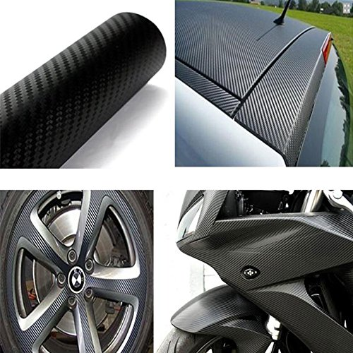 US Seller 3D Black Carbon Fiber Vinyl Car DIY Wrap Sheet Roll Film Sticker Decal - 30*152cm 12