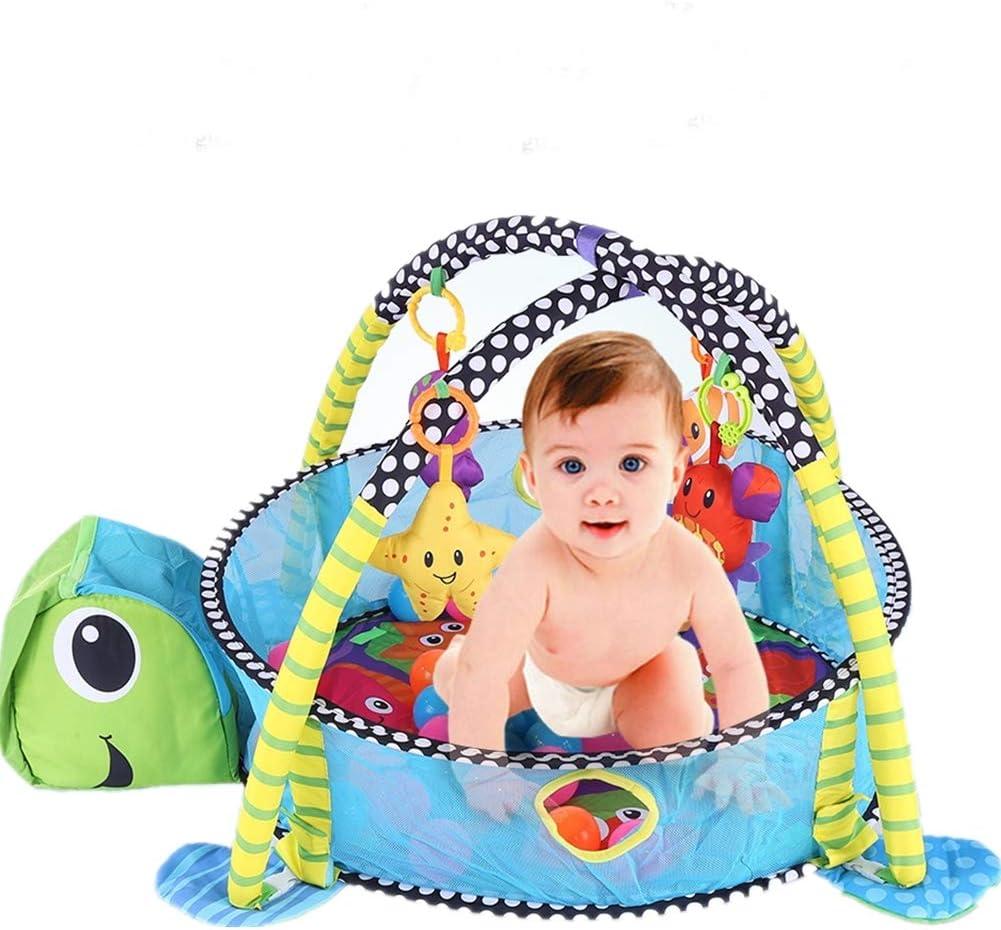 Juego de Alfombras Manta Bebé 35 Pzs, Manta de Arrastre Gimnasio de Actividades Alfombras de Juego y Gimnasios para Baby con Rejilla Protectora (Tortuga)