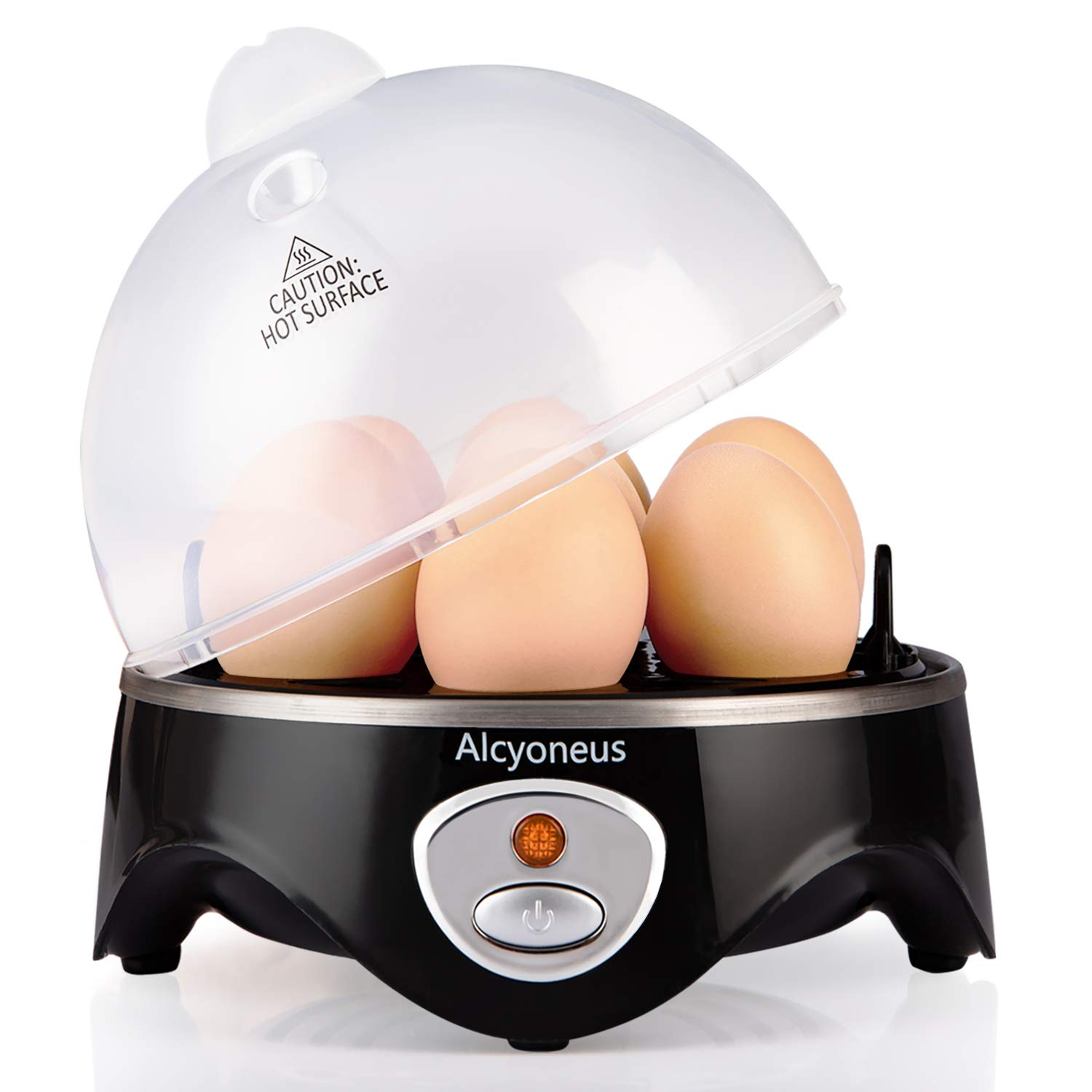 Alcyoneus Rapid Egg Cooker, Electric Egg Boiler, Noise-Free Hard Boiled Egg Cooker with Auto Shut Off & 7-Capacity, Suitable for Poached Egg, Scrambled Eggs, Omelets - Black by Alcyoneus