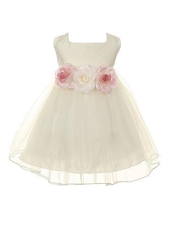 519a7ee8983 Kids Dream Baby Girls Ivory Floral Adorned Silk Tulle Flower Girl Dress 6M