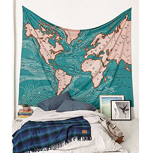 Get Orange Green World Map Tapestry Geography Ocean Current Educational Retro Art Tapestry Wall Hanging for Room Dorm Home Decor 79quotX58quot