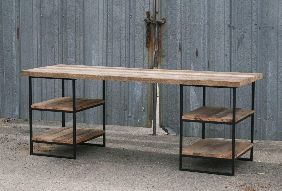 Reclaimed Wood Desk with shelves. Industrial Steel Desk. Home Office