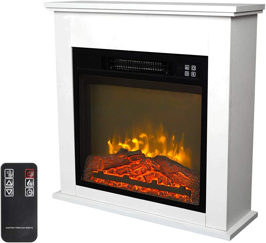 Zokop 25''W Freestanding Electric Fireplace Stove Space Heater with Realistic Flame, Wood Mantel, Remote Control for Home Room Indoor, 1500W-Black