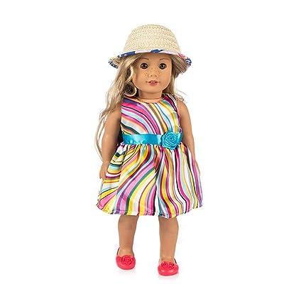 2 Piezas Vestido a Rayas de Colores + Sombrero para el Sol para 18 Pulgadas Americana Chica Muchacha Muñeca Gusspower: Juguetes y juegos