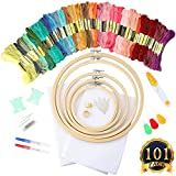 Arts & Crafts : SUBANG Full Set of Embroidery Starter Kit Cross Stitch Tool Kit Including 5 Bamboo Embroidery Hoop, 50 Vivid Color Threads, 12 by 18-Inch 14 Count Classic Reserve Aida and Tool Kit