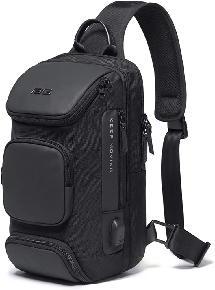 Large-capacity Sling Chest Bag, Anti Theft Crossbody Bag for Men USB Shoulder Daypack