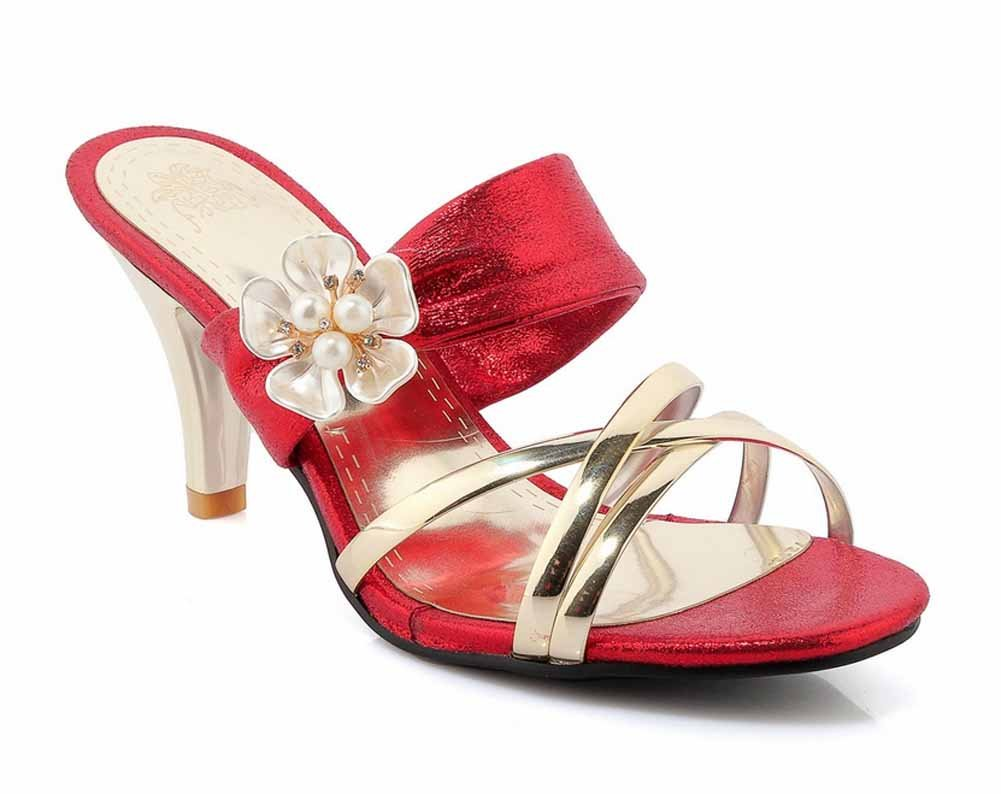Femmes fleurs pantoufles à talons hauts Summer Fashion T-strap grande taille femmes chaussures 40-43 SHINIK