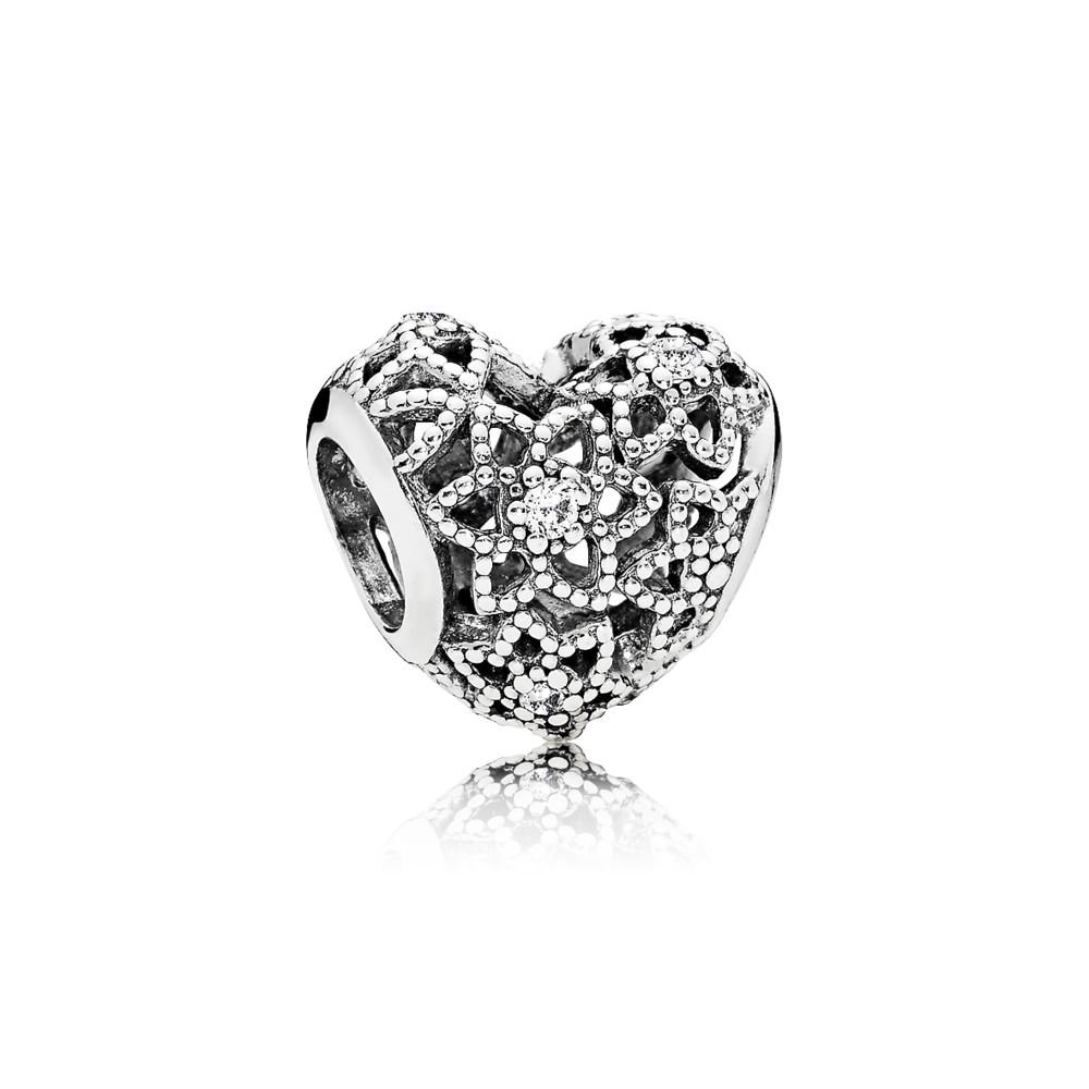 c9bd28c2e Amazon.com: PANDORA Openwork Heart Charm in Sterling Silver Clear Cubic  Zirconia in Floral Pattern - 796264C: Jewelry