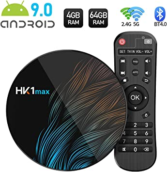 Sidiwen Android 9.0 TV Box HK1 MAX 4GB RAM 64GB ROM RK3318 Quad-Core Dual WiFi 2.4G/5G BT 4.0 Ethernet H.265 USB 3.0 Compatible con 3D 4K Ultra HD Smart TV Box: Amazon.es: