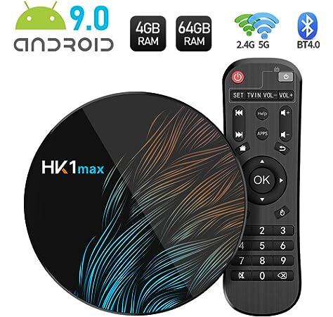 Sidiwen Android 9.0 TV Box HK1 MAX 4GB RAM 32GB ROM RK3318 Quad-Core Dual WiFi 2.4G/5G BT 4.0 Ethernet H.265 USB 3.0 Compatible con 3D 4K Ultra HD Smart TV Box: Amazon.es: