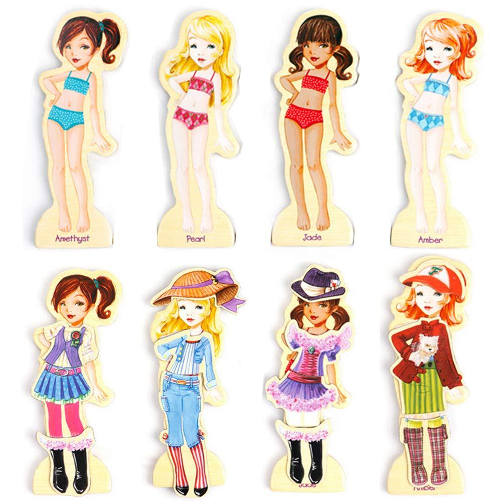 Onshine en Bois Modèles de Mode Casse-tête 63 Pièces Magnétique de S'habiller Jouets éducatifs pour Bébé Fille Garçon Enfants