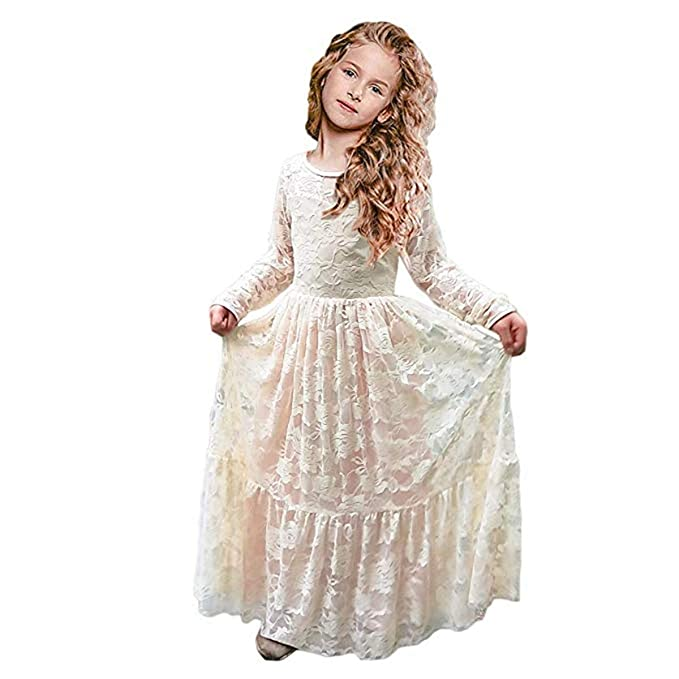533c95d3c16 CQDY Lace Flower Girl Dress Long Sleeves Princess Communion Dresses for 2-13T  (Champagne