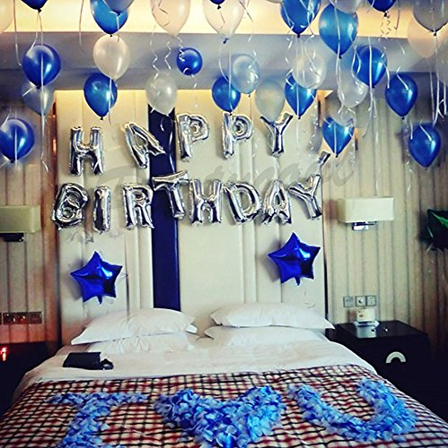 iPartyCool Happy Birthday Balloons, 3D Premium Aluminum Foil Banner Balloons for Birthday Party Decorations and Supplies-HB2S [1-Year Guarantee] -