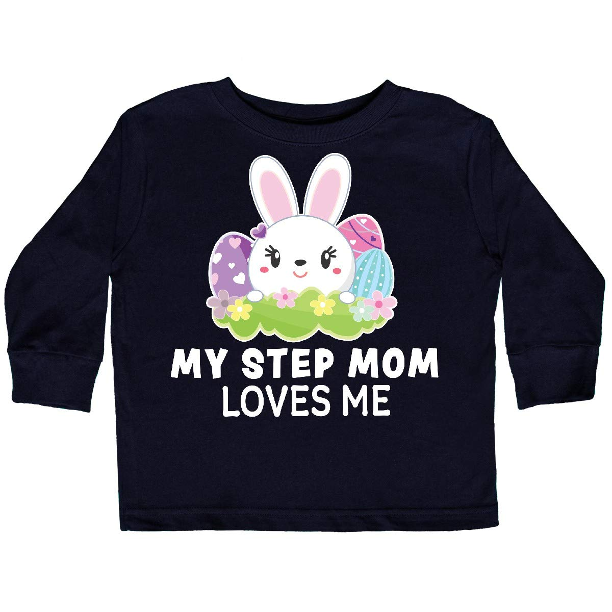 inktastic My Step Mom Loves Me with Bunny and Easter Toddler Long Sleeve T-Shirt