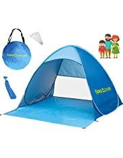 NRG CLEVER® OT2PB La Migliore Tenda da Spiaggia per Esterni, Portatile, con Protezione Solare UPF 50+ per 2 o 3 Persone, Apertura Istantanea Pop-up, Colore Blu, Cabana