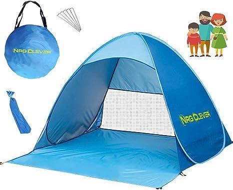 NRG CLEVER OT2PB Tienda de Campaña de Apertura Automática Pop Up para Playa, Acampada, Picnic, Tienda de Protección Solar UV para 2-3 Personas, Color Azul: Amazon.es: Deportes y aire libre