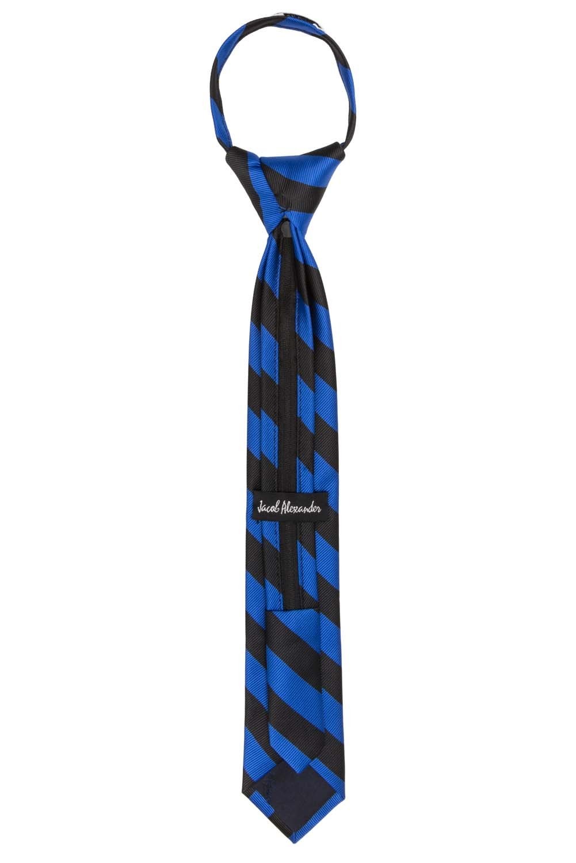 Jacob Alexander Stripe Woven Boys 14 College Striped Zipper Tie Silver Black