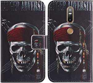 TienJueShi Skull Book-Style Flip Leather Protector Case Cover TPU Silicone Etui Wallet for Lenovo PHAB 2 Plus 6.44 inch