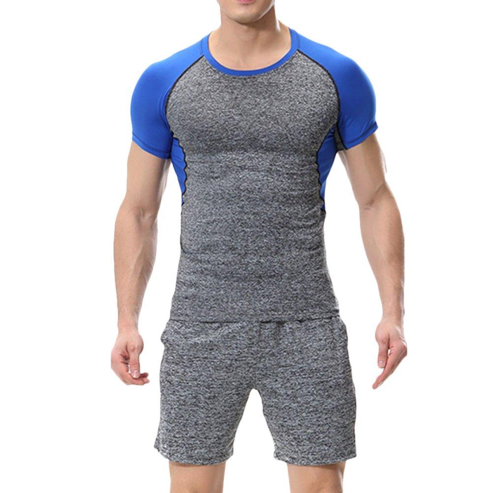 Zhuhaitf Two pieces Men's Fitness Clothing Set Summer Short Sleeves Sportswear