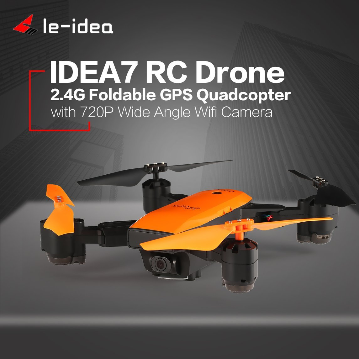 Footprintse Le-idea IDEA7 2,4G RC Drone Faltbare Quadcopter mit 720 P Weitwinkel WiFi Kamera GPS Höhe Halten Headless One Key Return