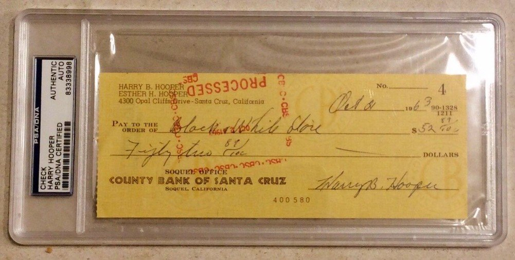 Harry Hooper Signed Autograph PSA/DNA Certified Check Certified Autograph
