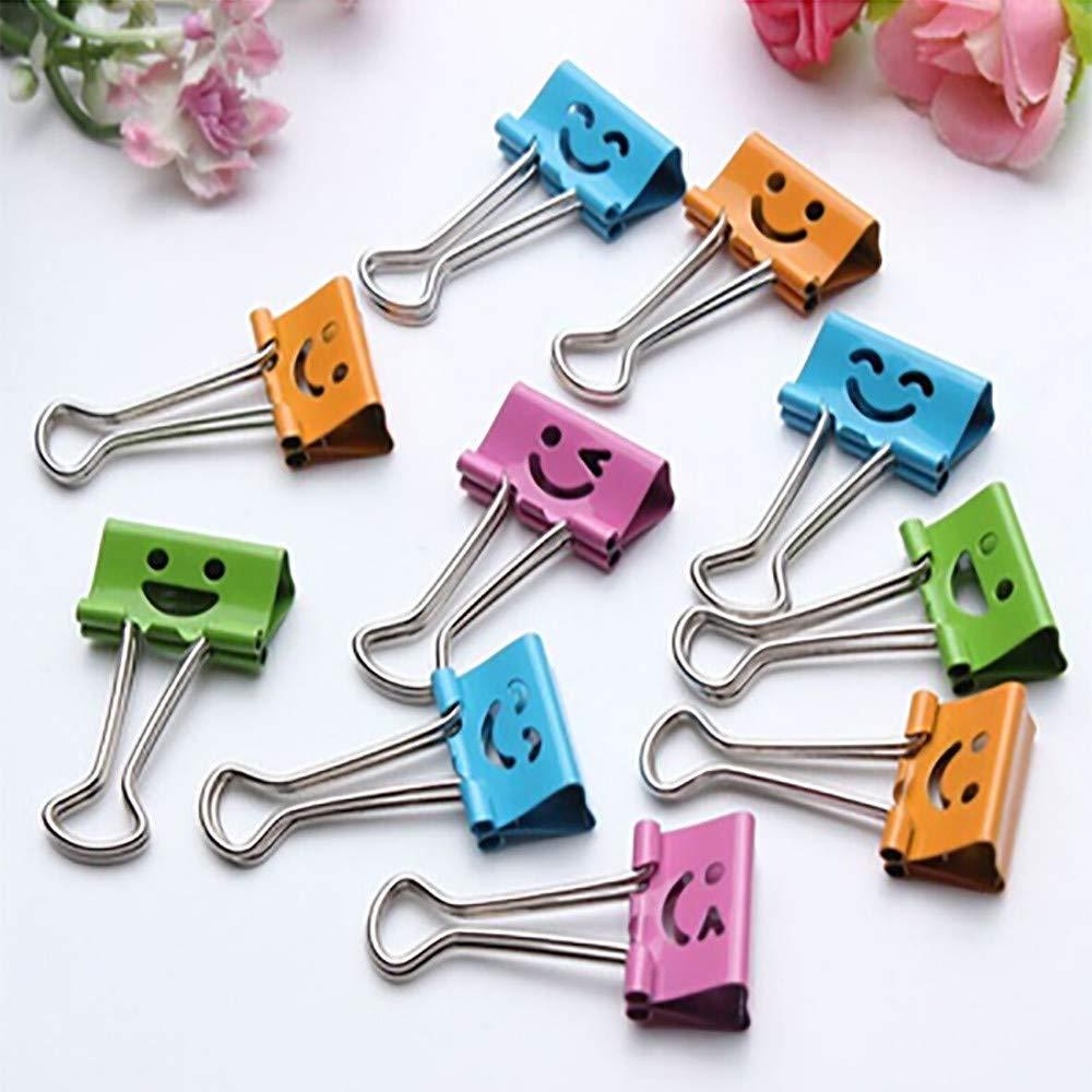 Metal Binder Clips, SUJING 10pcs File Organizer Paper Holder Metal Paper Clips Paper Clamp with Cute Lovely Smiling Face