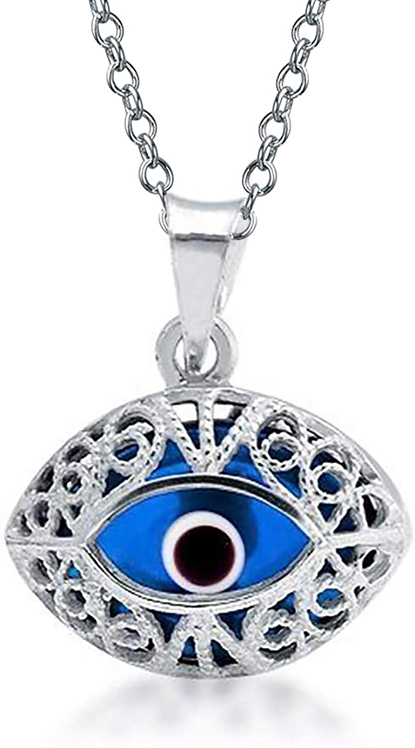 Evil Eye Mother-of-Pearl Turkish Luck Charm 925 Sterling Silver Necklace Pendant