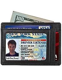 Slim Wallet RFID Front Pocket Wallet Minimalist Secure Thin Credit Card Holder (OneSize, Black)