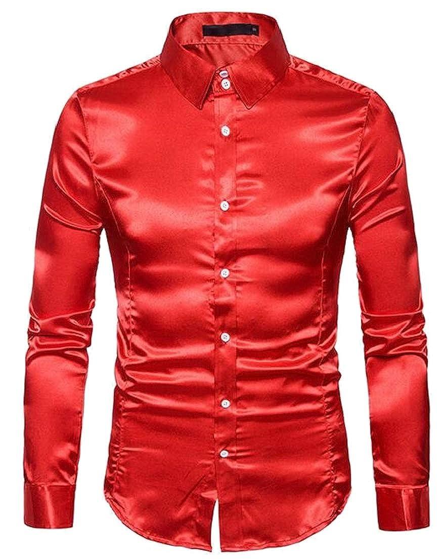Generic Mens Regular Fit Long Sleeve Satin Silk Dance Prom Dress Shirt