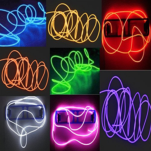8 Pack - TDLTEK Neon Glowing Strobing Electroluminescent Wire /El Wire(Blue, Green, Red, White, Pink, Purple,Orange, Yellow) + 3 Modes Battery (Easy Burning Man Costumes)