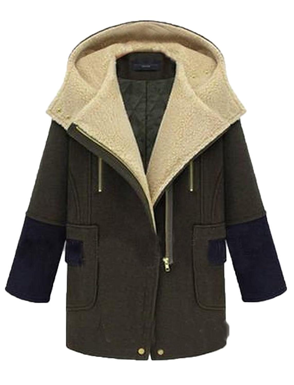 xiaokong Women's Thicken Chic Zip Up Wrap Line Jacket Trenchcoat