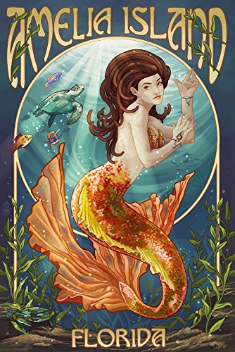 Designs Amelia Apron - Amelia Island, Florida - Mermaid (9x12 Art Print, Wall Decor Travel Poster)
