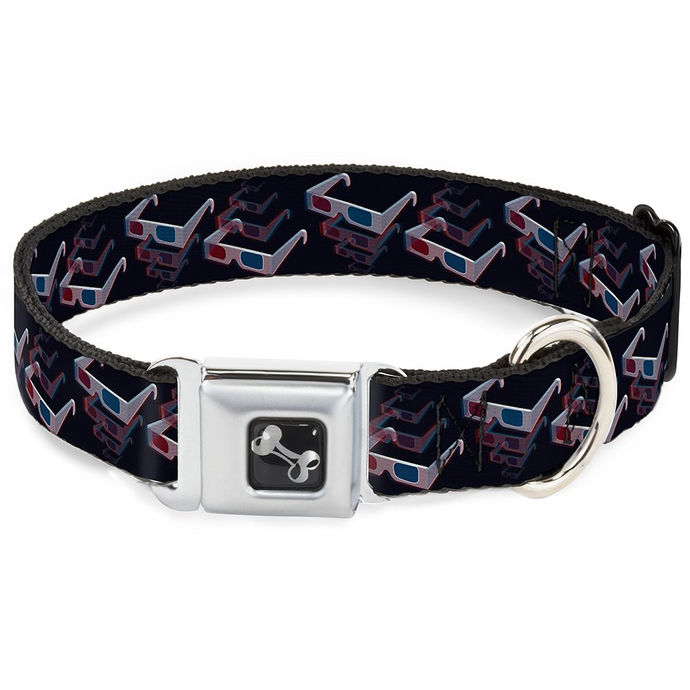 Buckle-Down Seatbelt Buckle Dog Collar 3-D Glasses Black 1.5  Wide Fits 18-32  Neck Large