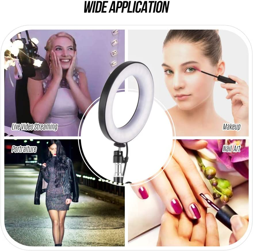 Andoer Ring Light Kit 3 Light Modes with Wireless Remote Control,Tripod Stand and 3 Cell Phone Holders Camera Lighting Kit for YouTube Video Live Stream Makeup Selfie for Most Smartphone 6 Inch