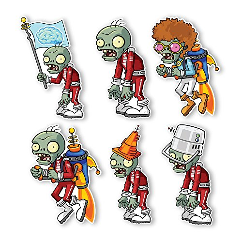 Plants vs. Zombies 2 Wall Decals: Special Far Future Zombie Set I (Six Zombies 6 inches Longest Side) (Plants Vs Zombies Disco)