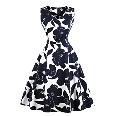GAESHOW 1950s Vintage Retro Floral Print Dresses Round Collar Sleeveless  Hepburn Rock Swing Party Dress for f88965f3c8a