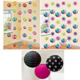 3 ct. 70's Round Printed Paper Lanterns, 12 ct. 70's Swirl Decorations, and 6 ct. 70's String Decorations Party Decoration Bundle - Includes 1 Maze Game Activity Card by ClassicVariety