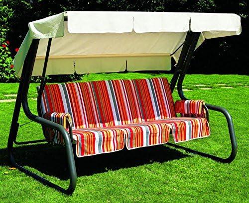 Balancín de jardín, convertible en cama, de 4 plazas, Master Scab, barras de gris antracita, revestimiento de algodón de diseño a rayas, cubierta blanca: Amazon.es: Hogar