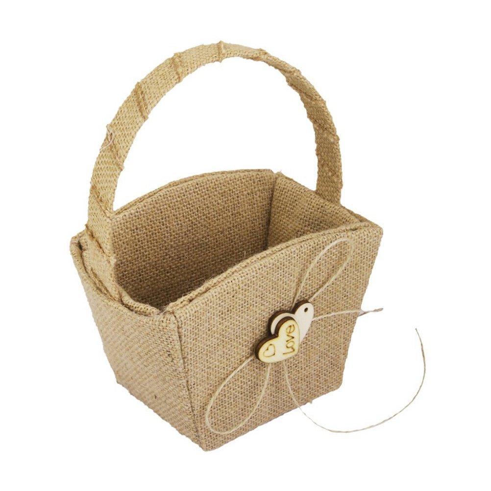 Pixnor Vintage Wedding Burlap Hessian Flower Girl Basket Wooden Heart Embellished