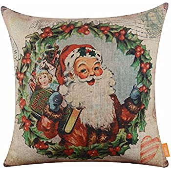 LINKWELL 18x18 inches Merry Christmas Santa Claus Wreath Burlap Throw Cushion Cover Pillowcase CC1186