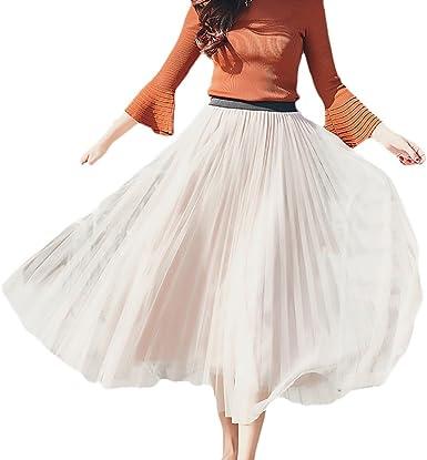 Jupe plissée en Tulle pour Femmes élastique Vintage élégant