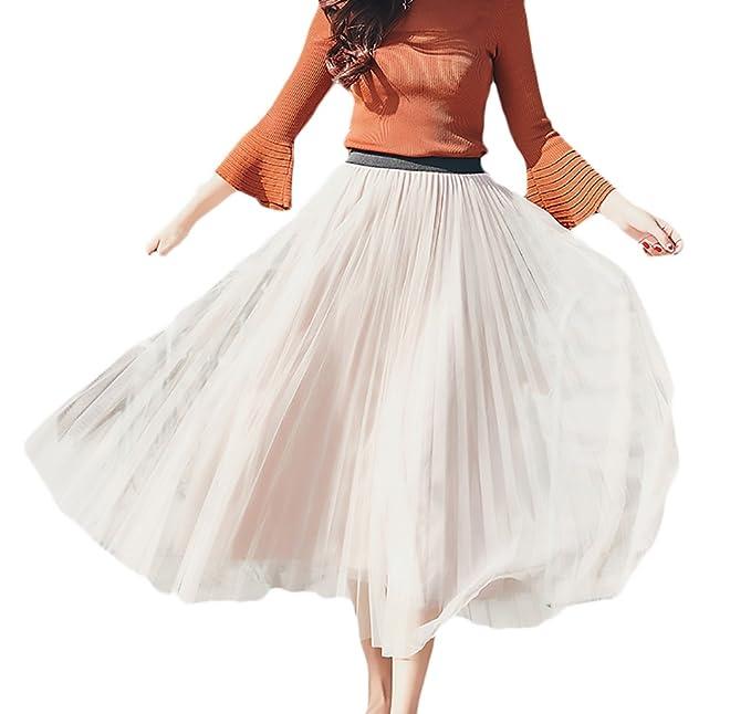 design di qualità 4ea3e c06b1 Battercake Donna Gonna Pieghe Gonne Lunghe Elegante Vintage ...