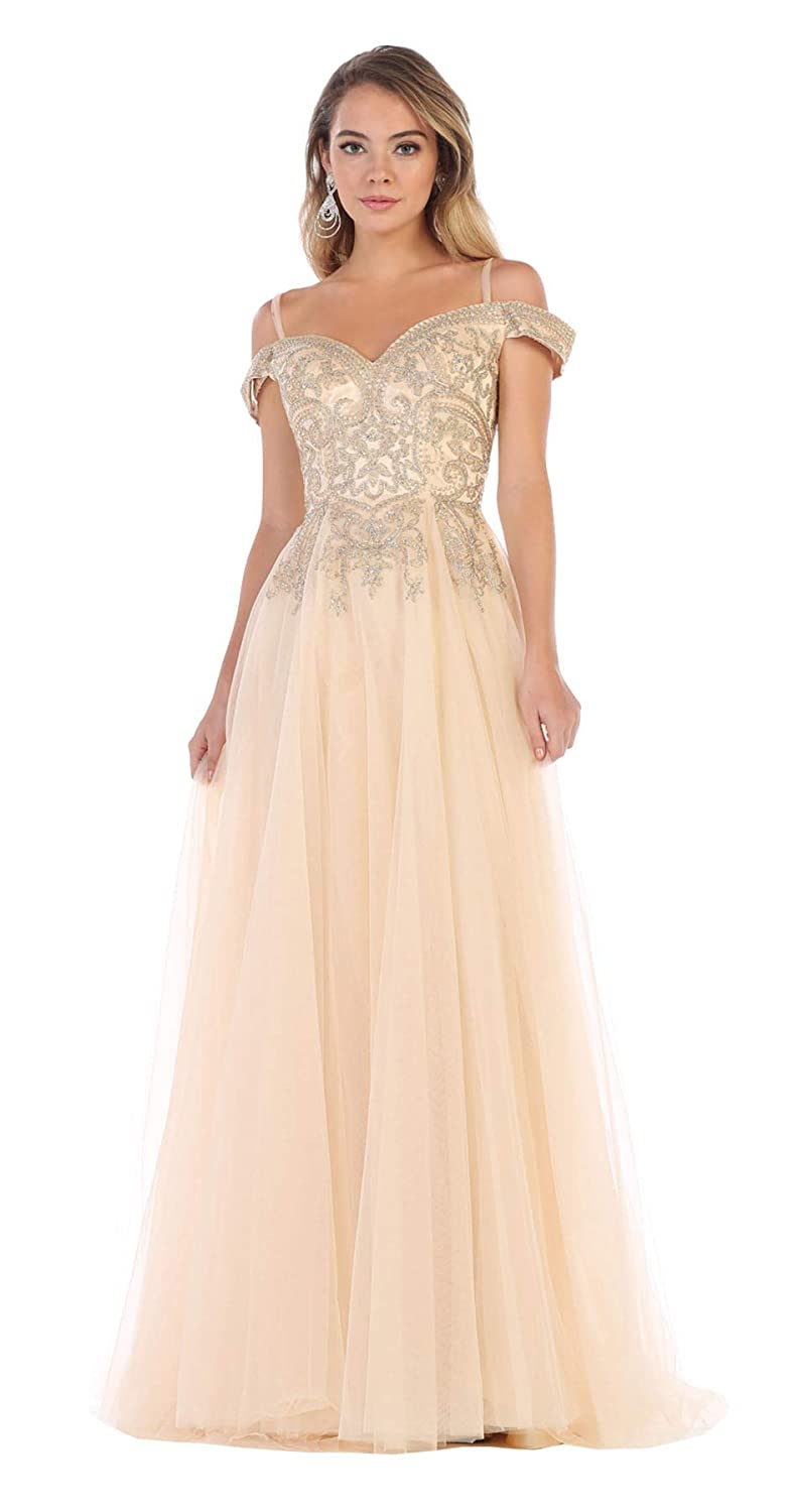 Champagne Formal Dress Shops Inc FDS1626 Wedding Destination AlIine Formal Gown