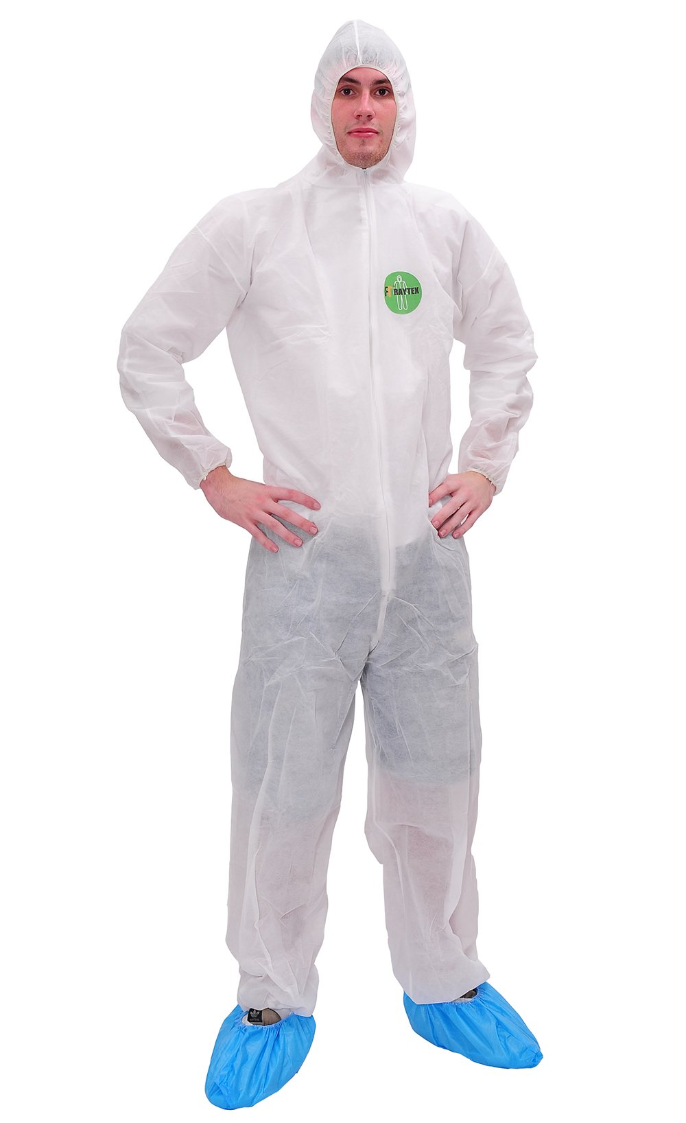 Raygard 30003 Polypropylene Disposable Protective Hooded Coverall Chemical Suit with Elastic Wrists, Ankles Zipper Front Closure for Spray Painting Food Service(X-Large,White,Pack of 25)