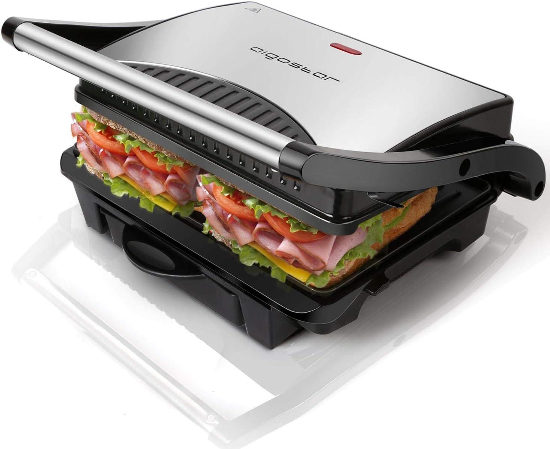 Aigostar Hett 30HHJ - Parrilla, grill, 1000 W, sandwichera y máquina de panini, asa de toque frío, placas antiadherentes. Libre de BPA, color plata y negro. Diseño exclusivo.