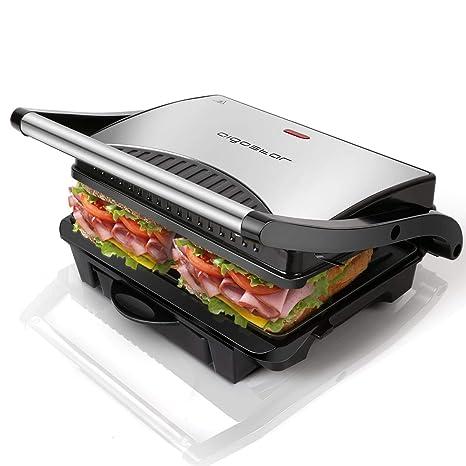 Aigostar Hett 30HHJ - Parrilla, grill, 1000 W, sandwichera y máquina de panini, asa de toque frío, placas antiadherentes. Libre de BPA, color plata y ...